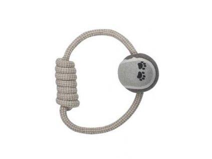 Hračka pes natur kruhový provaz s klubíčkem
