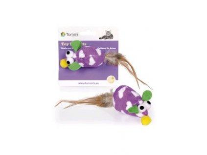 Hračka kočka Myška plyšová fialová