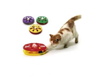 Hračka kočka Talíř plast obous. s míčkem