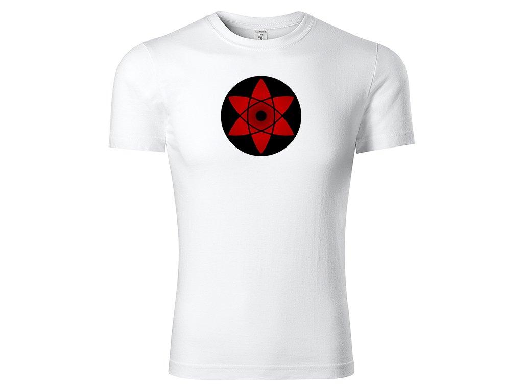Tričko Mangekyō Sharingan Sasuke bílé