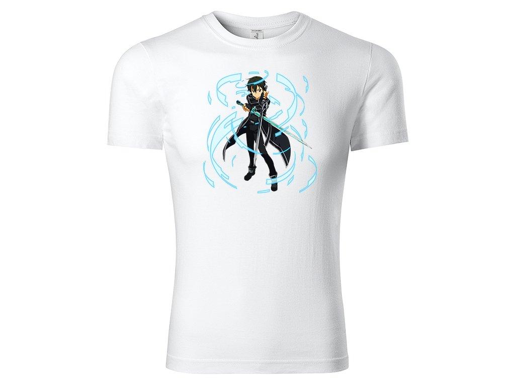 Tričko Kirito Dual Sword Skill bílé