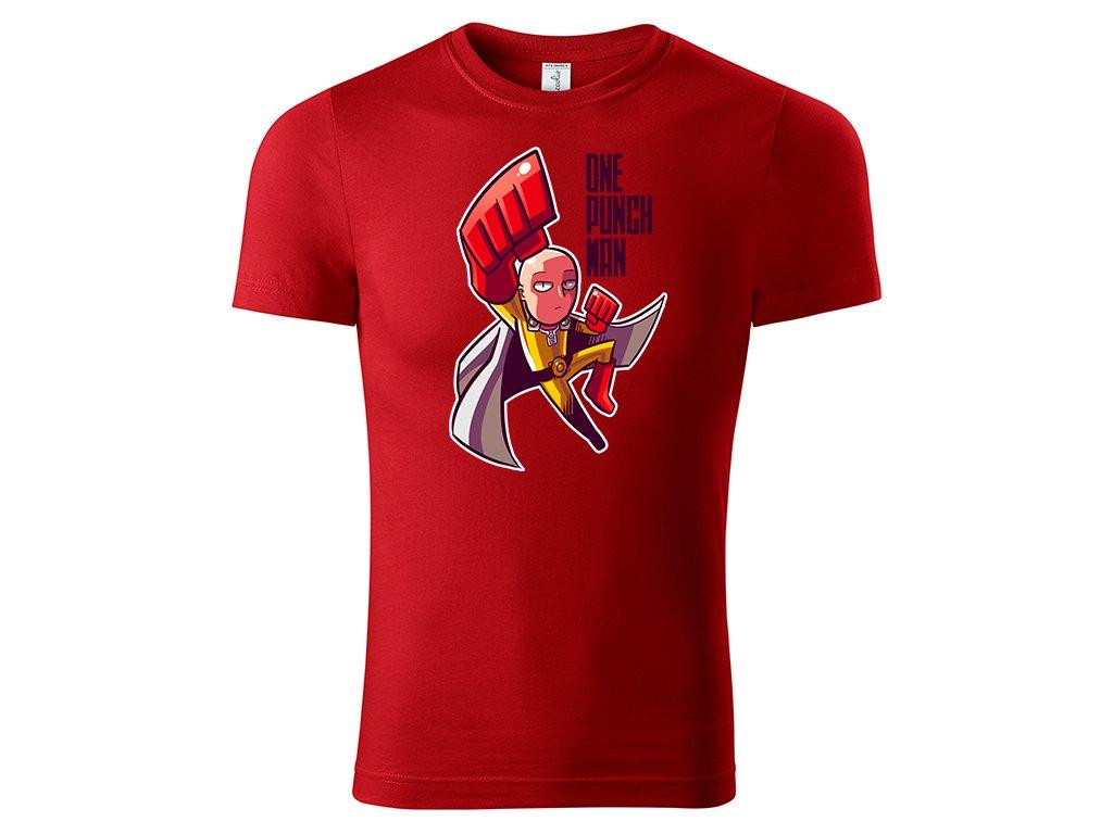 Tričko One Punch Man červené