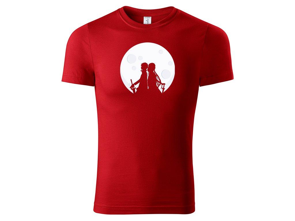 Tričko Asuna & Kirito Moon červené