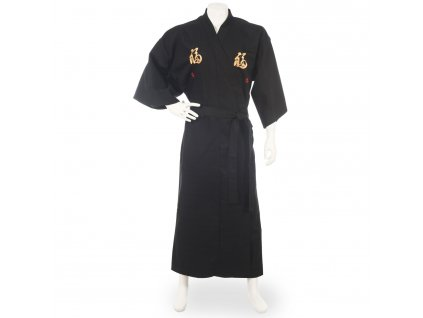 happiness long black japanese kimono 3