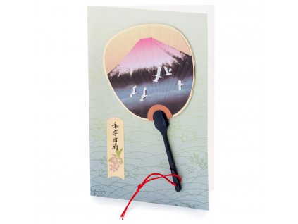 red mount fuji japanese fan card