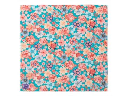 turquoise floral japanese ladies handkerchief 1