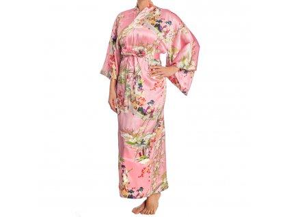 silk ukiyoe print long pink japanese kimono a