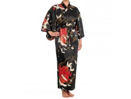 silk crane print long black japanese kimono a