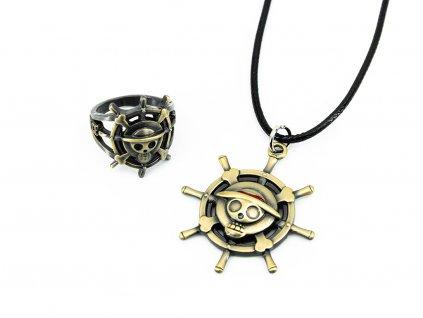 Set prstenu a náhrdelníku Luffy