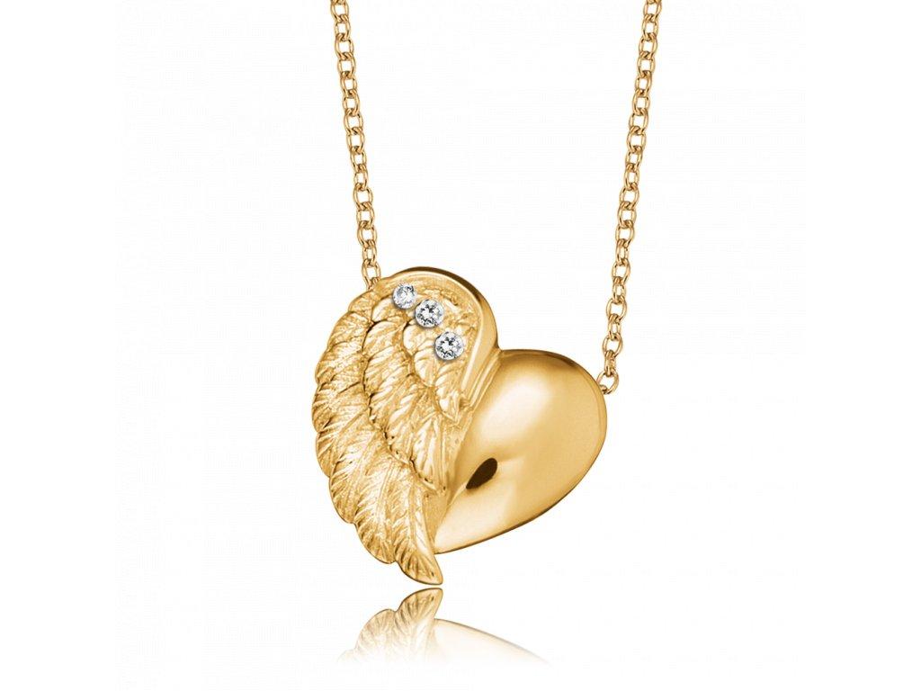 Pozlátený náhrdelník srdce s krídlom - Anjelské Zvončeky Engelsrufer ... 58ee896540f