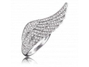 Anjelský prsten s krídlom a zirkónmi