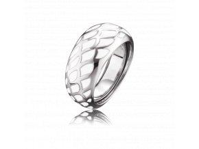 Strieborný prsteň z bieleho smaltu