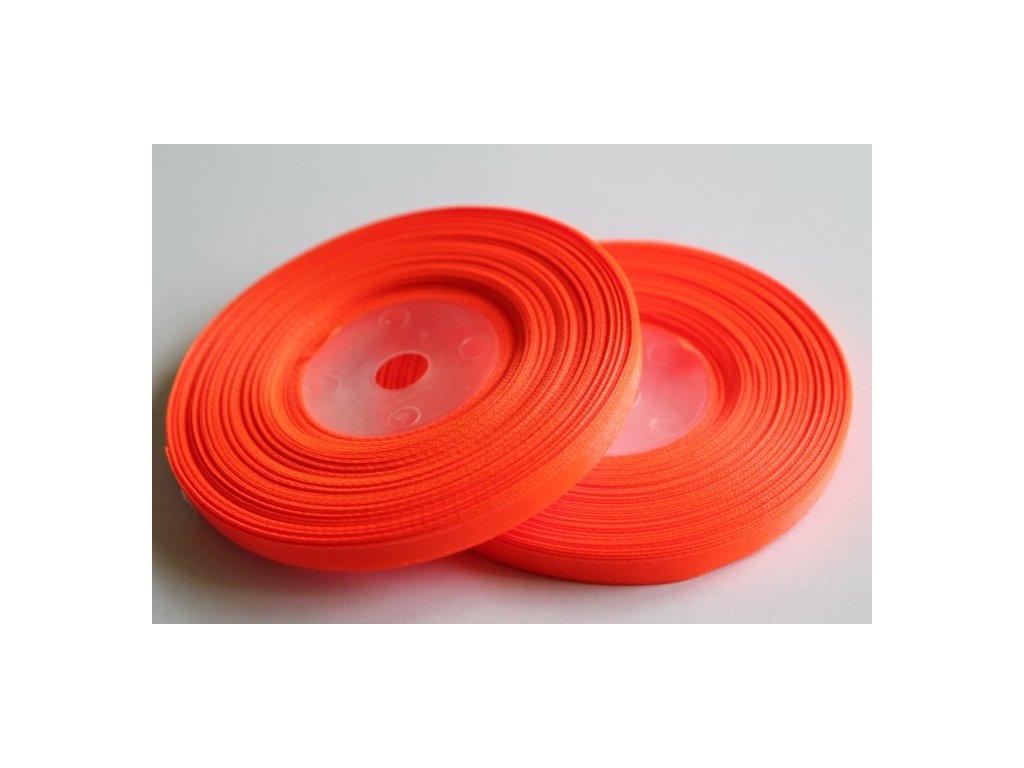 Saténová stuha 6mm A051 neónová oranžová