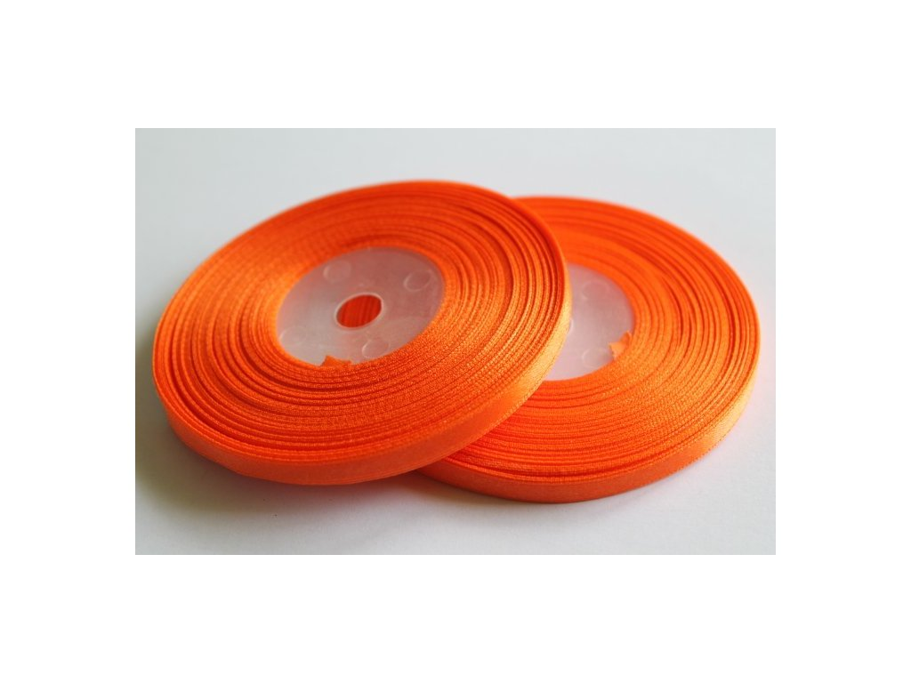 Saténová stuha 6mm A012 pomarančová