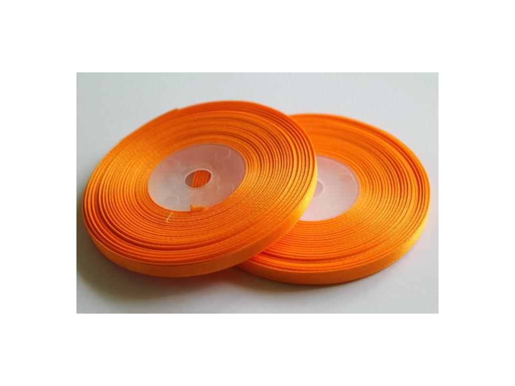 Saténová stuha 6mm A011 svetlá oranžová