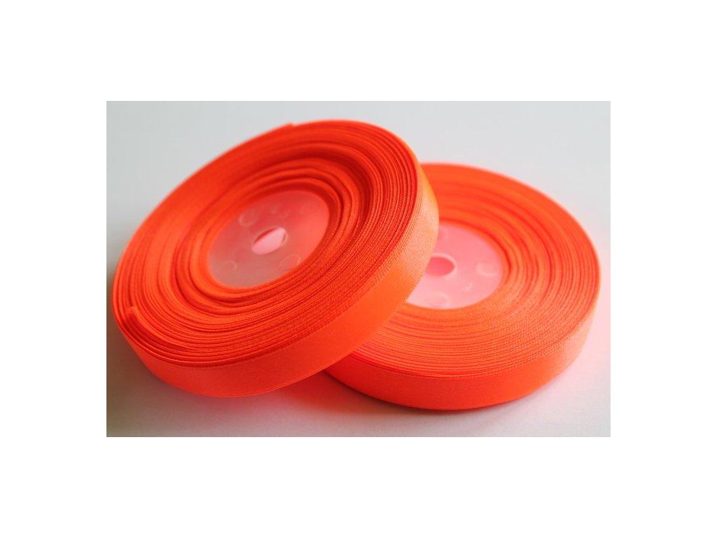 Saténová stuha 12mm A051 neónová oranžová