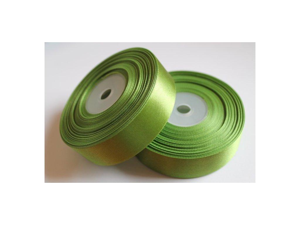 Saténová stuha 25mm A027 trávovo zelená