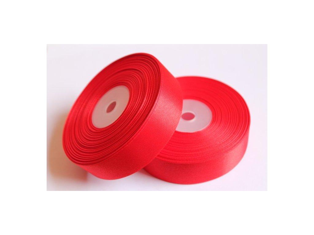 Saténová stuha 25mm A058 žiarivá červená