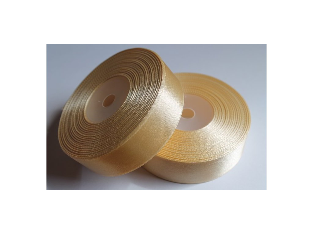 Saténová stuha 25mm A059 svetlá zlatá