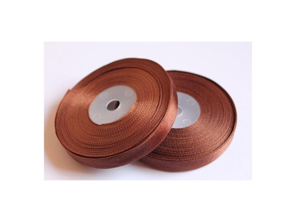 Saténová stuha 12mm A039 čokoládovo hnedá
