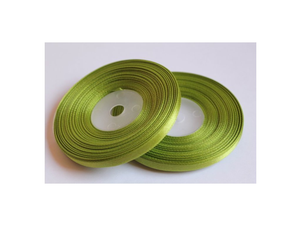 Saténová stuha 6mm A027 tmavá zelená