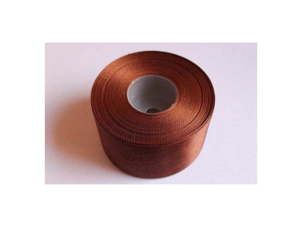 Saténová stuha 50mm A039 čokoládovo hnedá