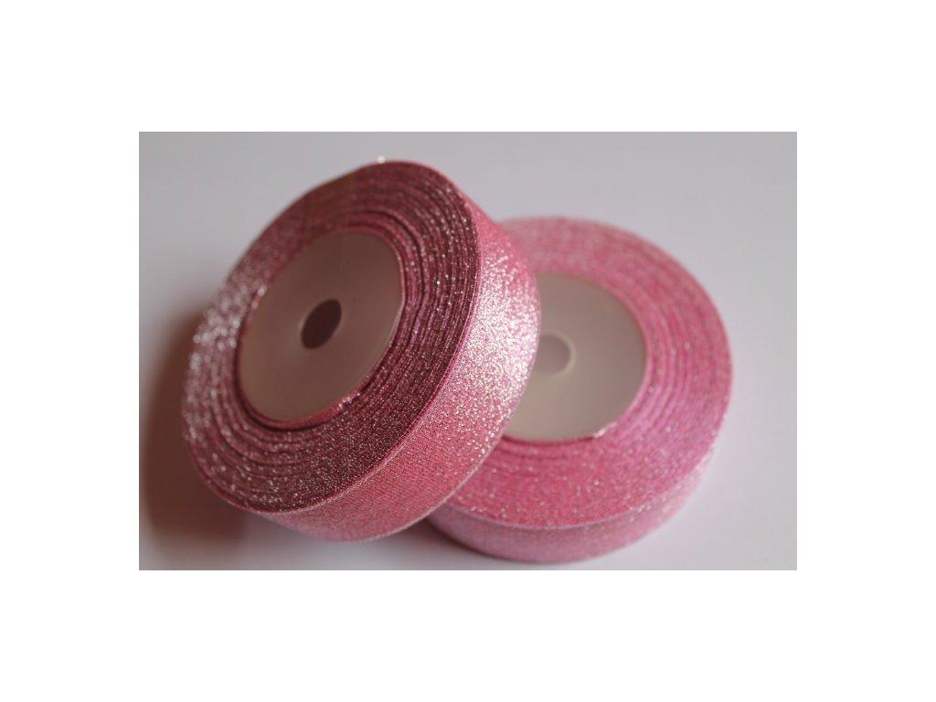 Brokátová stuha 25mm ružová