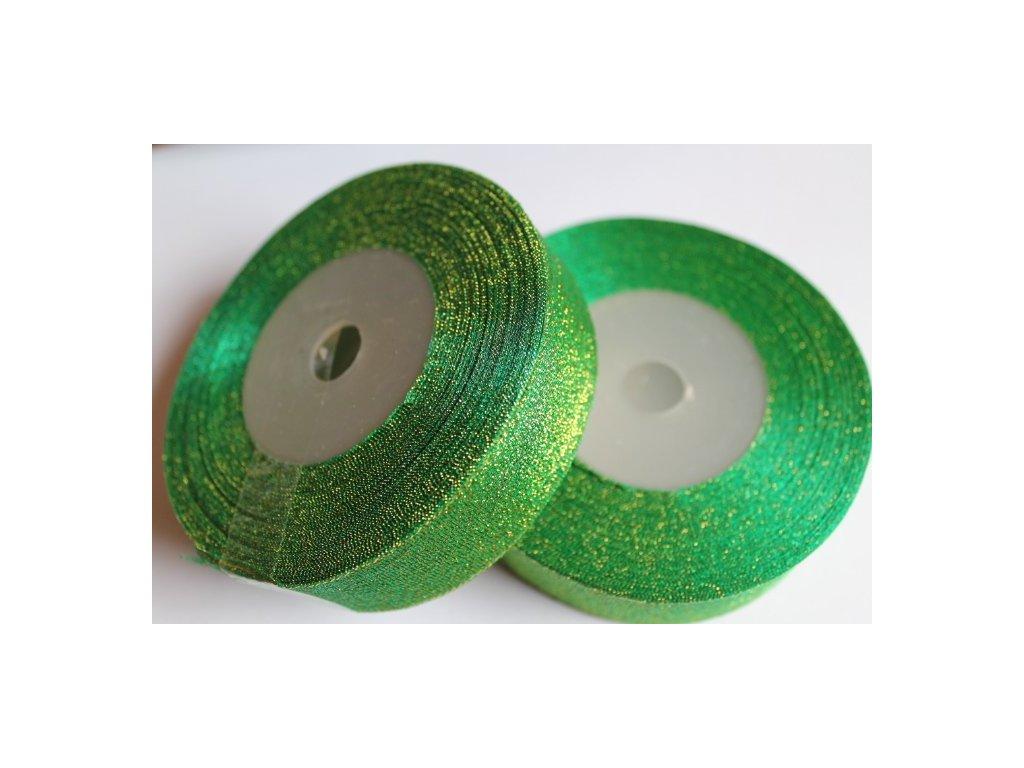 Brokátová stuha 25mm smaragdová zelená