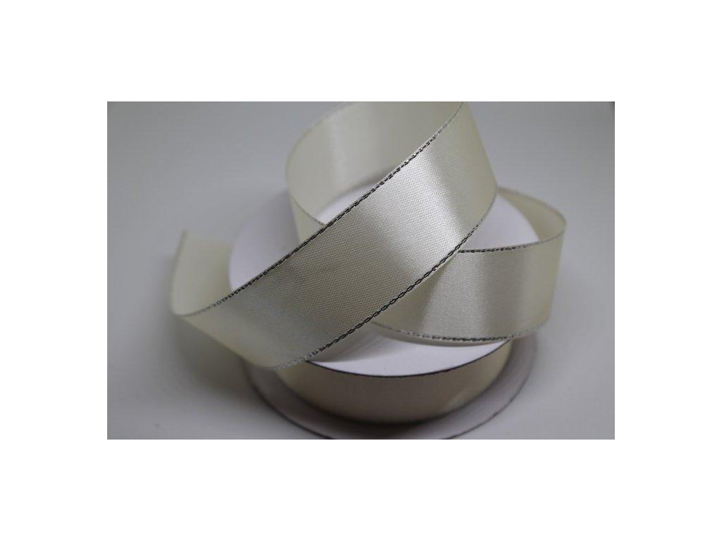 Saténová stuha so strieborným lemom 25mm krémová 011