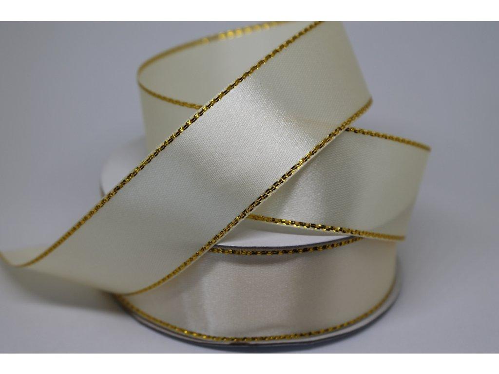 Saténová stuha ivory so zlatým lemom 25mm 011