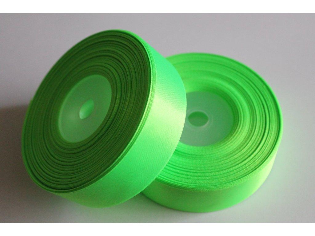 Saténová stuha 25mm A052 neónovo zelená
