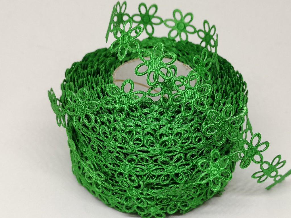 Kvietok saténový vykrojený zelený 15mm