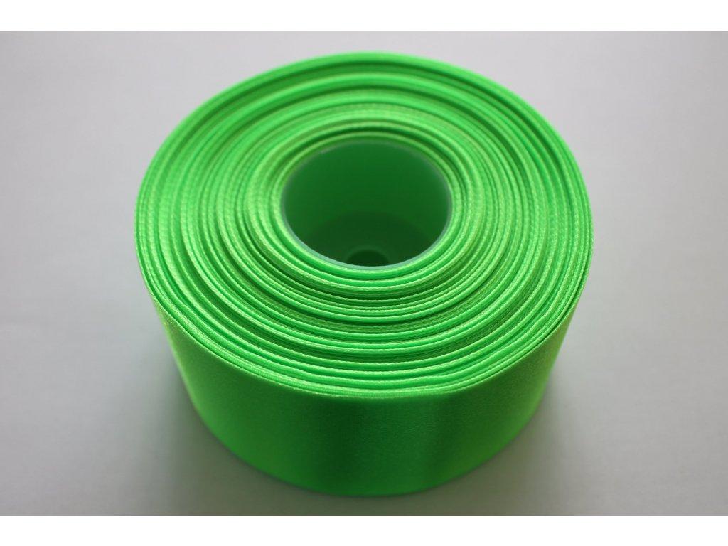 Saténová stuha 50mm A052 neónová zelená