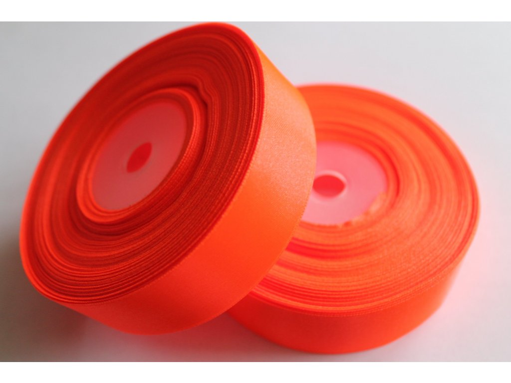 Saténová stuha 25mm A051 neónovo oranžová