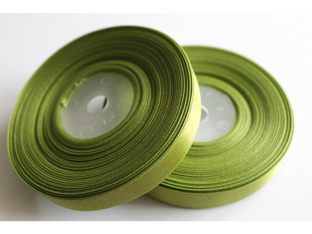 Saténová stuha 12mm A027 tmavá zelená