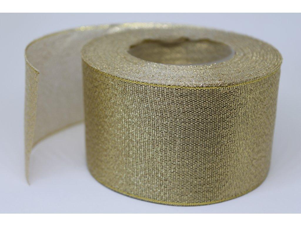 Brokátová stuha 50mm svetlá zlatá