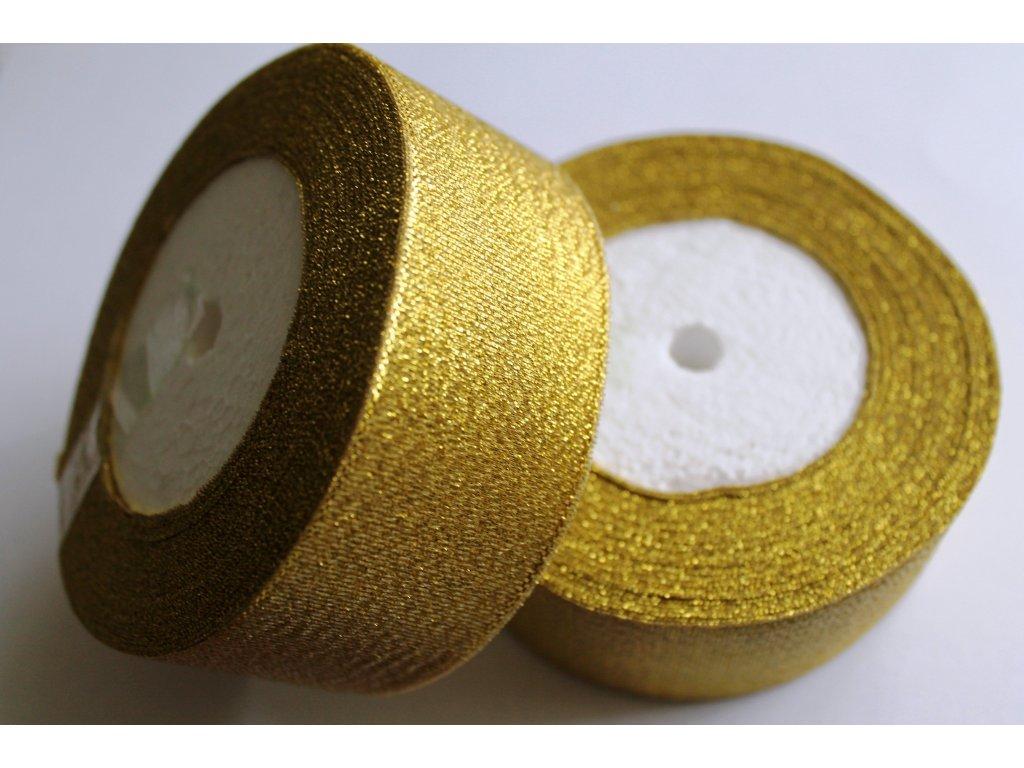 Brokátová stuha 38mm svetlá zlatá