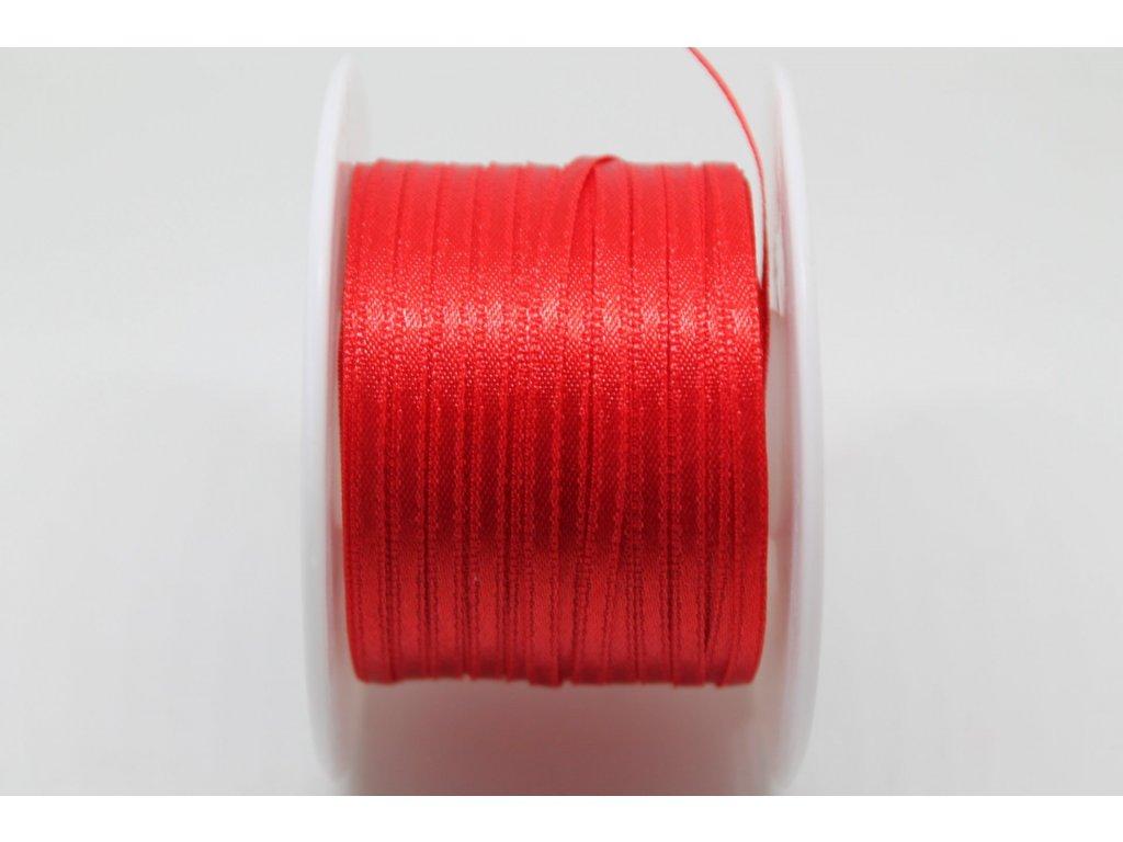 Saténová stuha 3,5mm A058 žiarivá červená