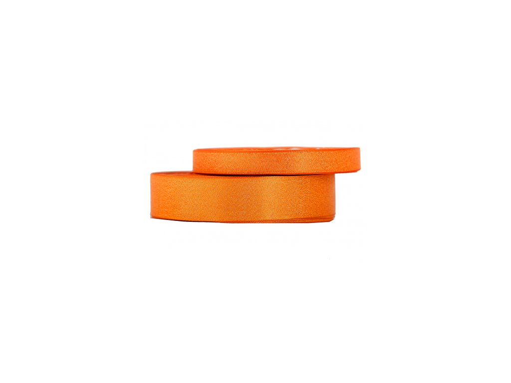 wstazka satynowa z brokatem 12mm 22mb pomaranczowa