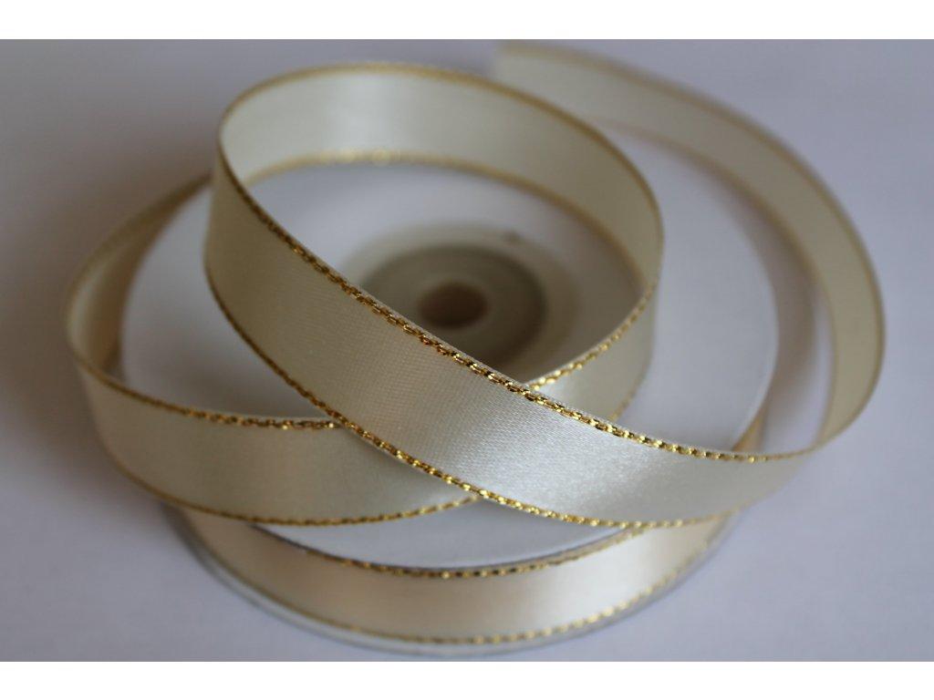 Saténová stuha ivory so zlatým lemom 10mm 011