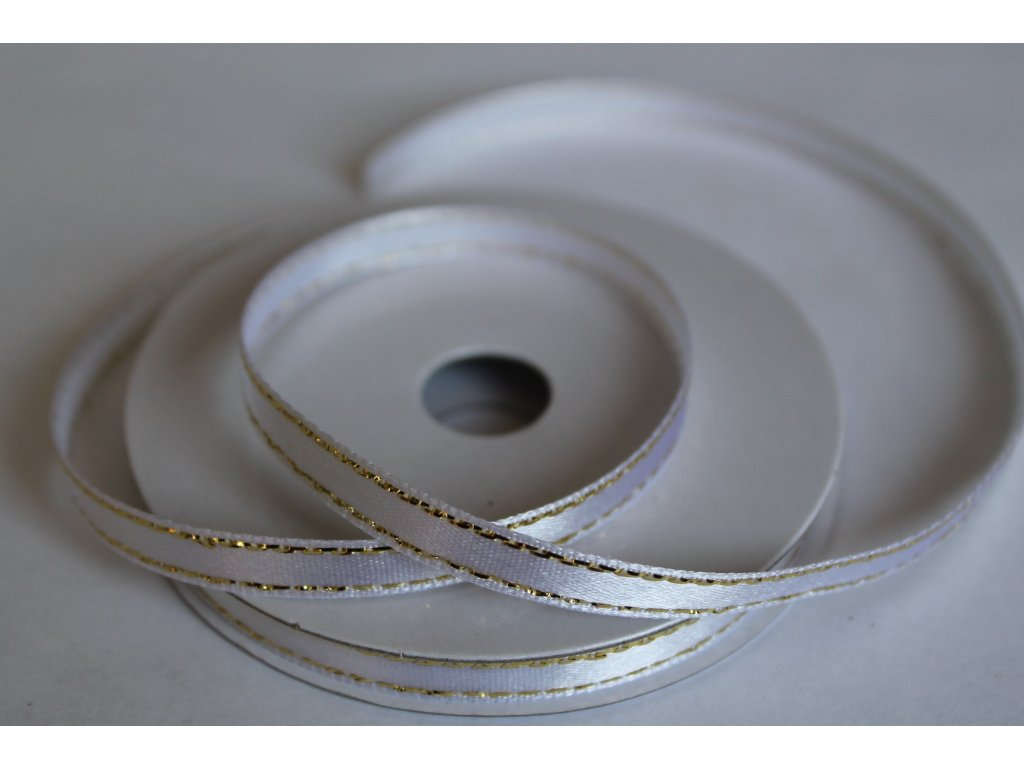 Saténová stuha so zlatým lemom 6mm