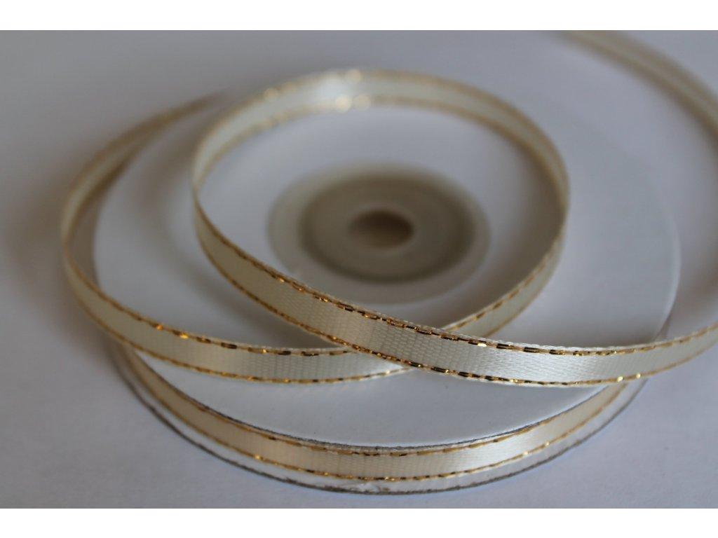 Saténová stuha ivory so zlatým lemom 6mm 011