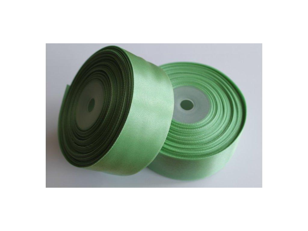 Saténová stuha 38mm A080 zeleno sivá