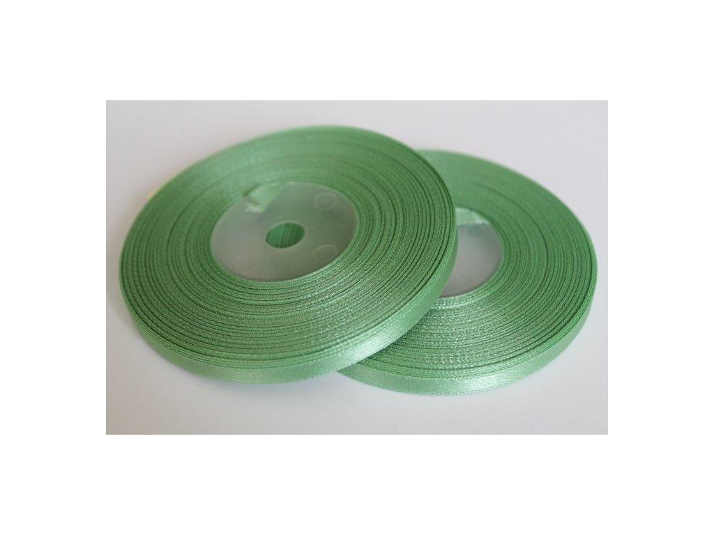 Saténová stuha 6mm A080 zeleno sivá