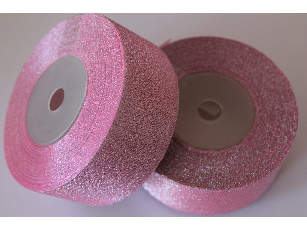 Brokátová stuha 38mm ružová so strieborným brokátom
