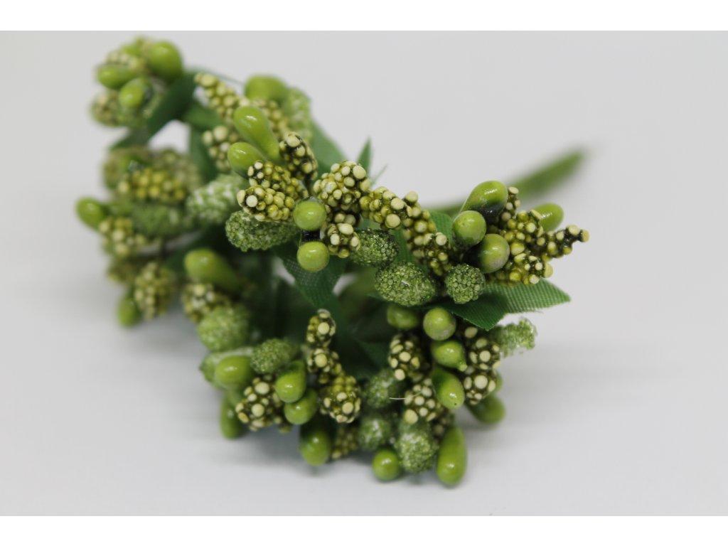 Tyčinky do kvetín s brokátom a zelenými lístkami 085