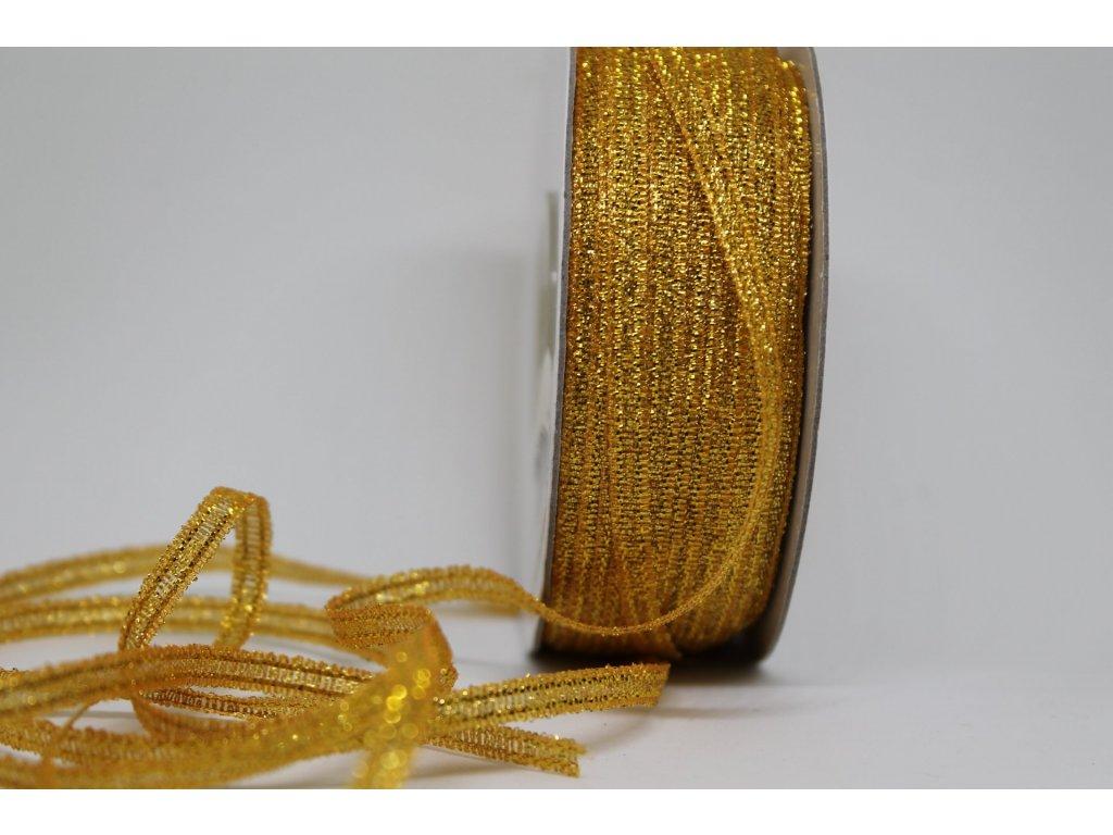 Brokátová stuha tmavá zlatá 3mm