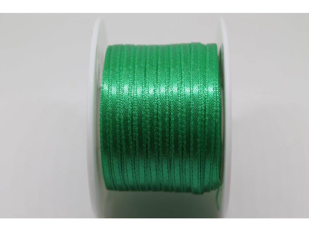 Saténová stuha 3,5mm A072 vianočná zelená