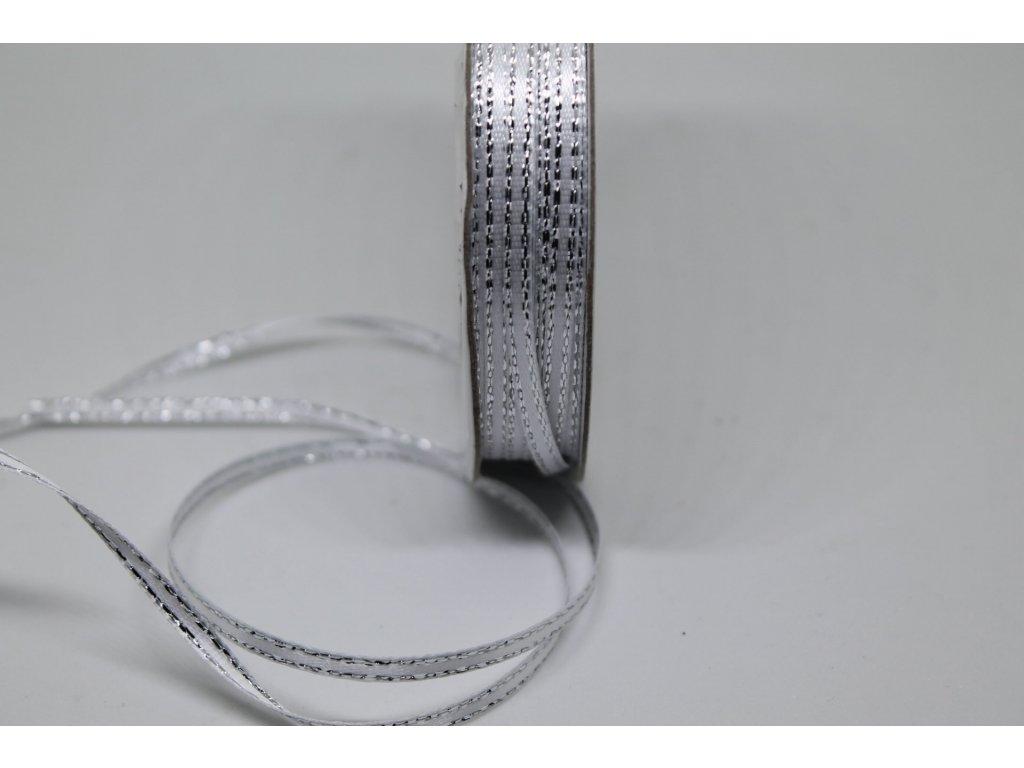 Saténová stuha 3mm/45m biela so strieborným lemom