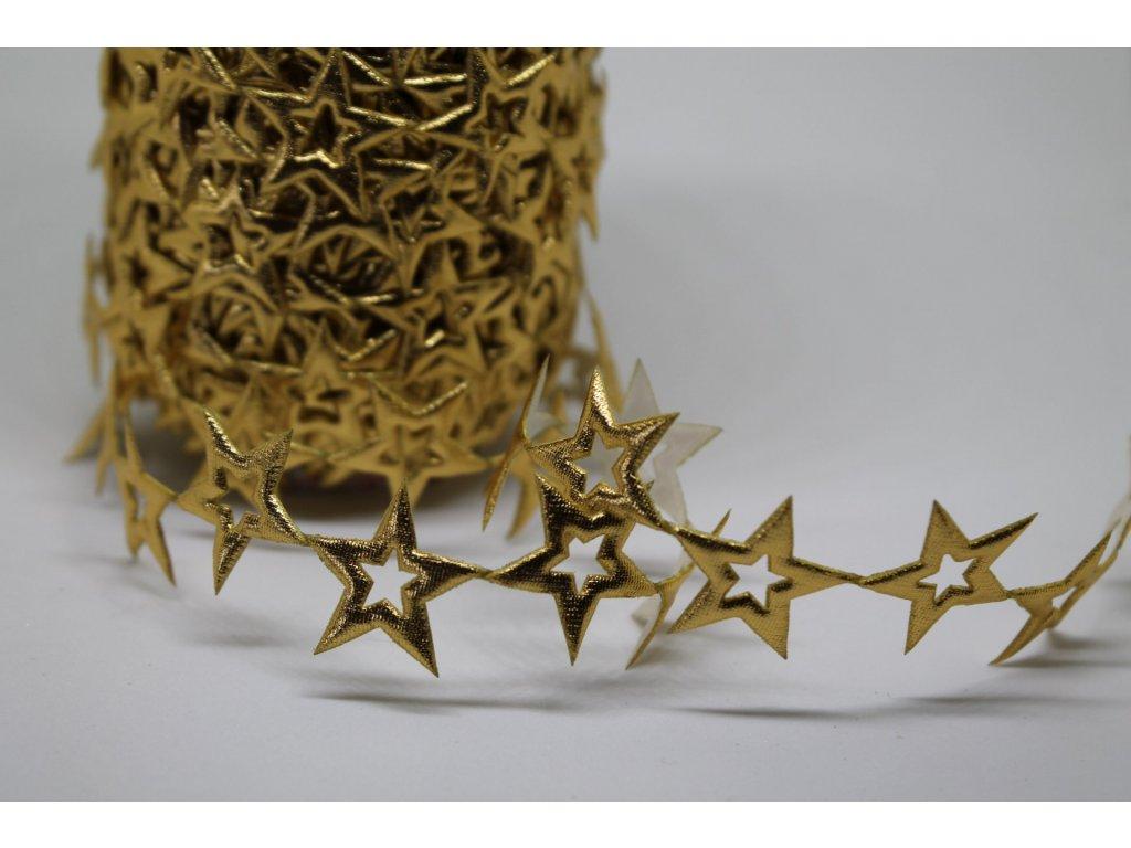 Aplikácia hviezda prázdna 2cm zlatá
